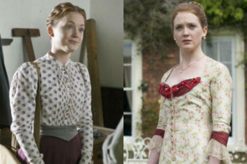 Olivia Hallinan as Laura Timmins on Lark Rise to Candleford (left) and as Jocelyn on The Paradise.