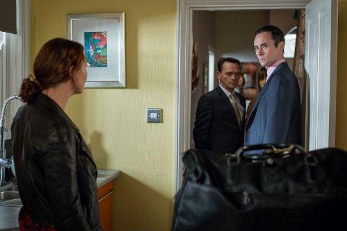 EastEnders Weekender: Janine Moon (CHARLIE BROOKS), Billy Mitchell (PERRY FENWICK), Michael Moon (STEVE JOHN SHEPHERD) Photo: Guy Levy © BBC 2013