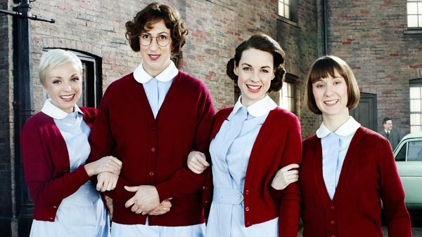 Call the Midwife S3 Cast: (L to R) Trixie Franklin (HELEN GEORGE), Chummy Noakes (MIRANDA HART), Jenny Lee (JESSICA RAINE), Cynthia Miller (BRYONY HANNAH)