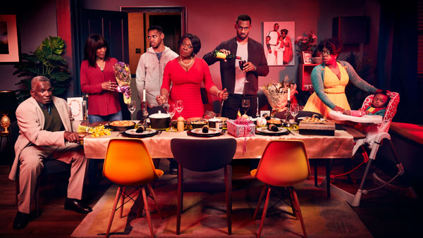 EastEnders 2015/16: Pearl, Kim Fox-Hubbard (TAMEKA EMPSON), Vincent (RICHARD BLACKWOOD), Claudette (ELLEN THOMAS), Jordan (JOIVAN WADE), Denise Fox (DIANE PARISH), Patrick Trueman (RUDOLPH WALKER) Photo: Jay Brooks (c) BBC 2016