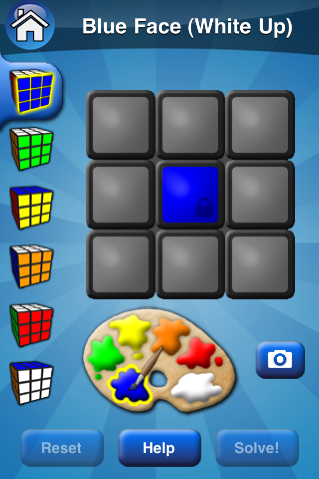 Rubik's Cube iPhone app Solver interface