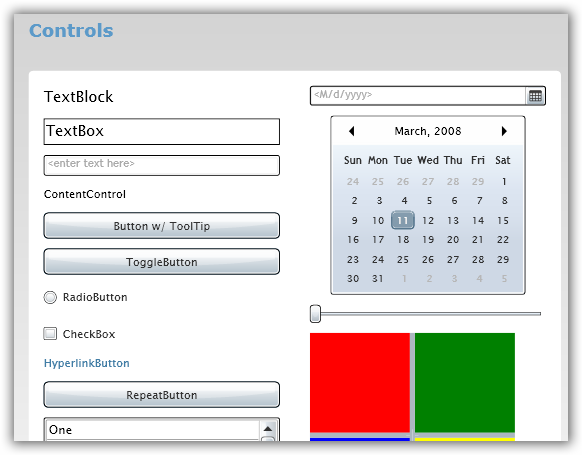 Silverlight Controls Sample