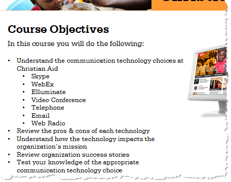 The Rapid E-Learning Blog - stating objectives in an elearning course