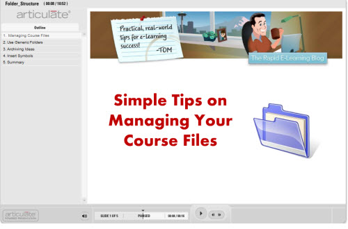 The Rapid E-Learning Blog - tutorial on creating a generic elearning folder