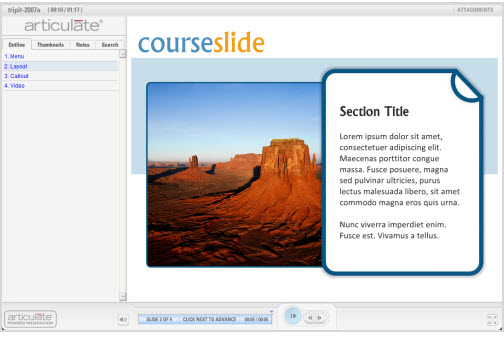 The Rapid E-Learning Blog - demo of the free PowerPoint template
