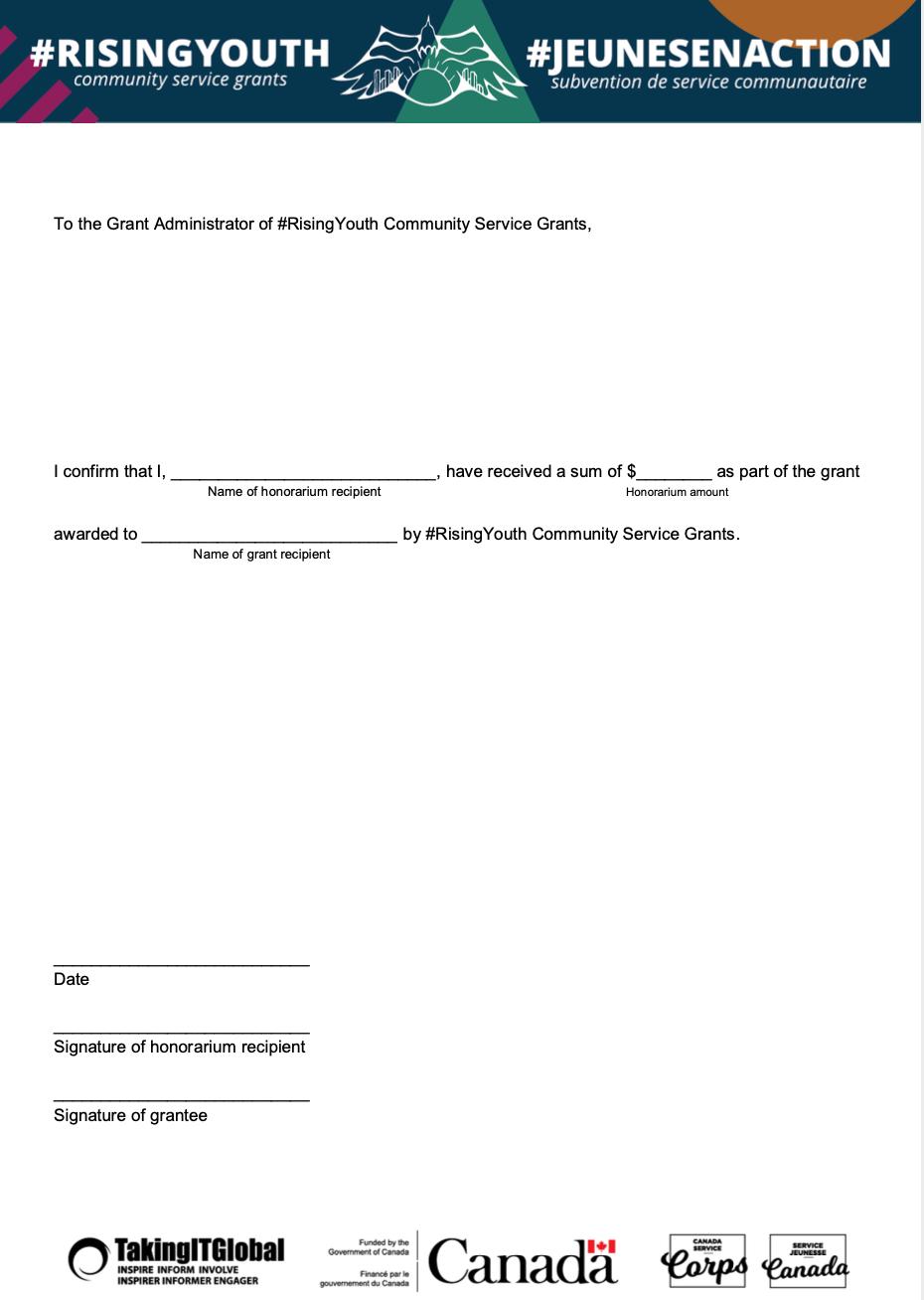 Honourarium Recipient - Letter of Receipt