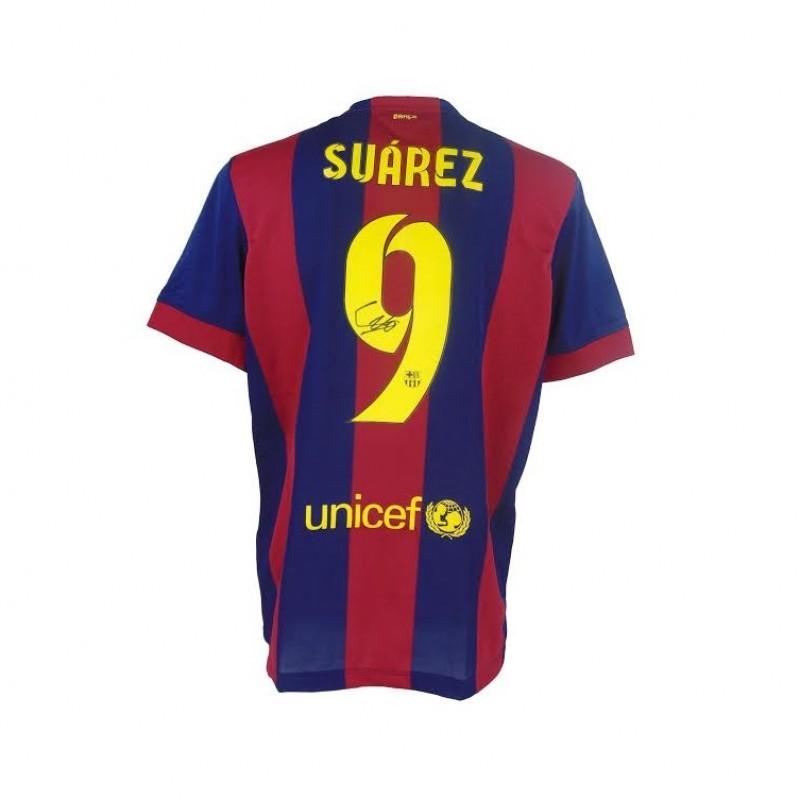 Signed Luis Suarez 2015 Barcelona Shirt