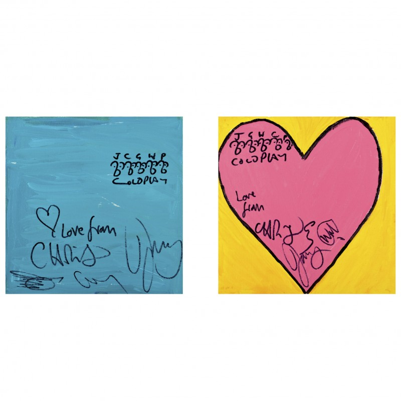 "Limited Edition ""Blue Square, Pink Heart""  Signed by Coldplay"