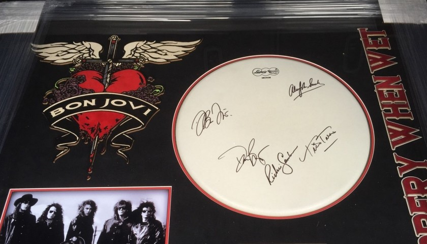 Drum Skin Signed by Members of Bon Jovi