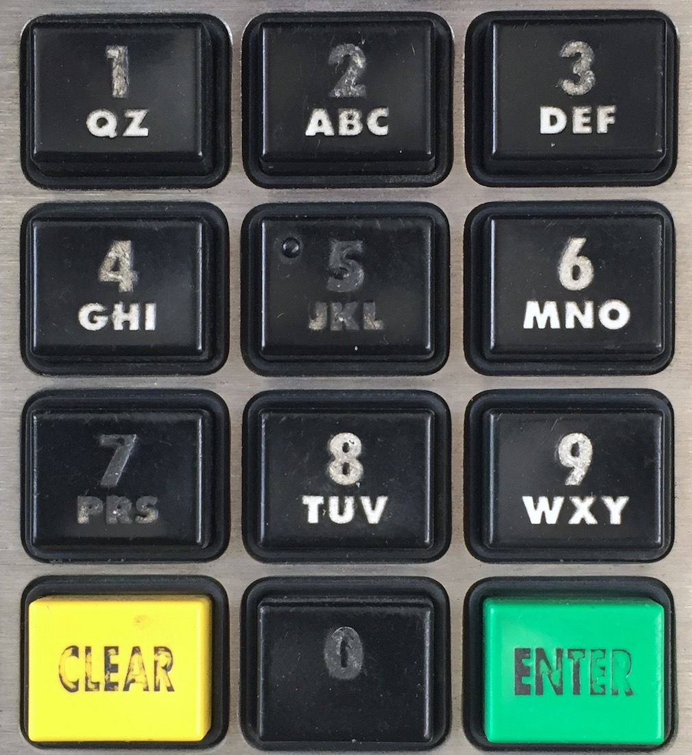 Credit card auth by zipcode keypad