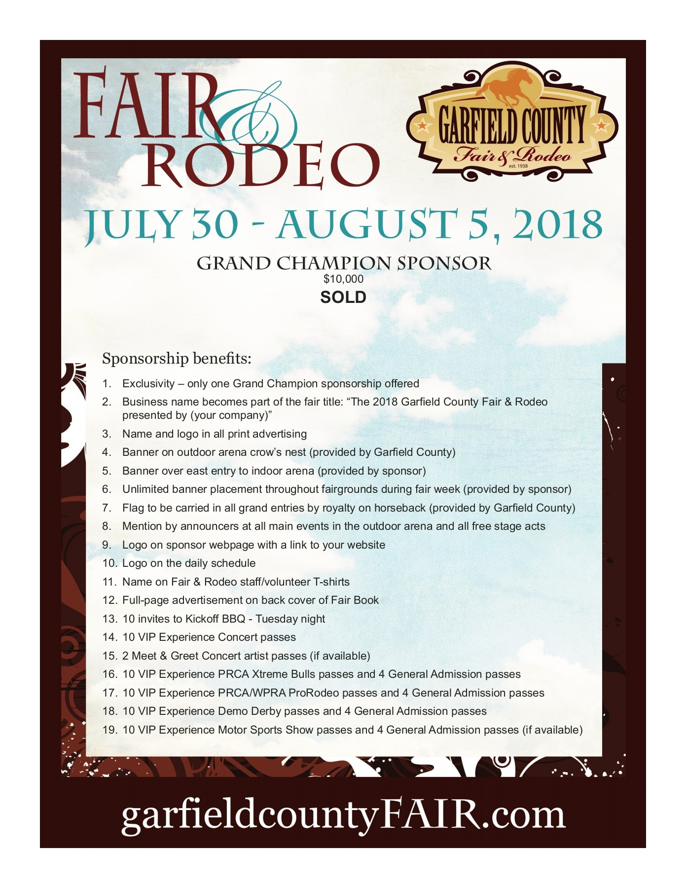 Become A Sponsor Garfield County Fair Rodeo July August - Car show sponsorship levels