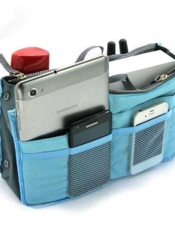 PackNBUY BLUE Handbag Purse Switcher Travel Pouch for Cosmetics Keys Card Wallet