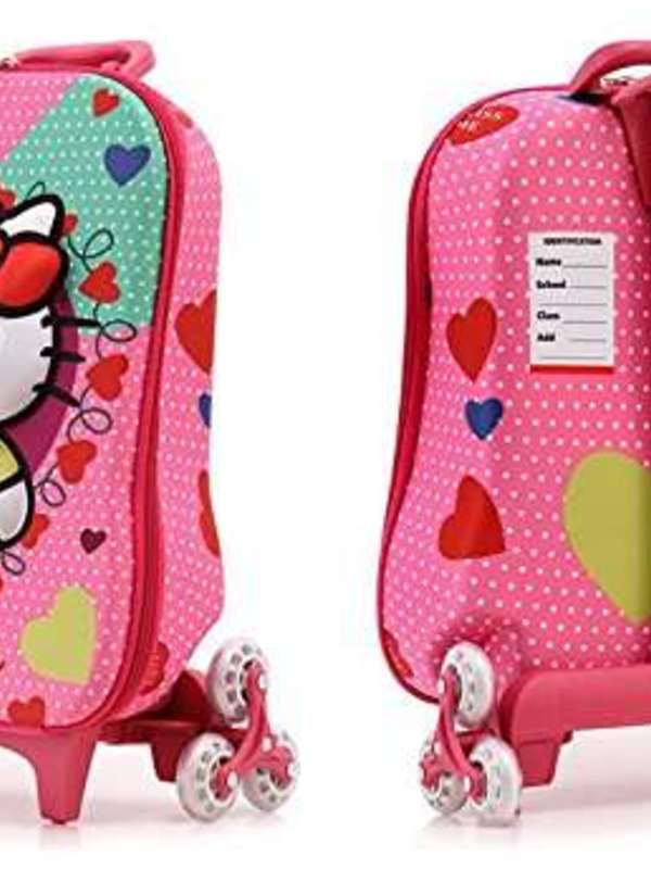 Di Grazia Hello Kitty Hardshell Travel School Bag and Trolley Luggage Suitcase Bag