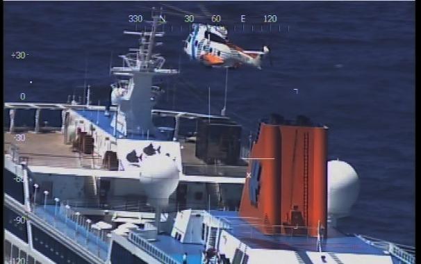 La aeronave inicia las tareas de evacuación. (Foto: Prefectura Naval Argentina)