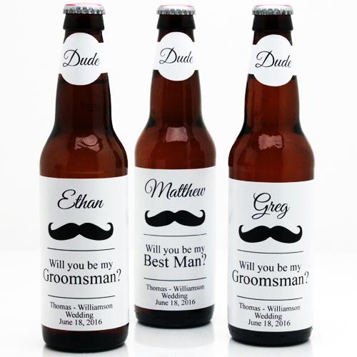 Mustache Groomsmen Personalized Beer Bottle Labels 6