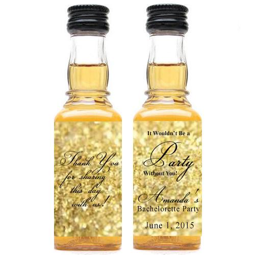 Gold Glitter Personalized Mini Liquor Bottle Labels
