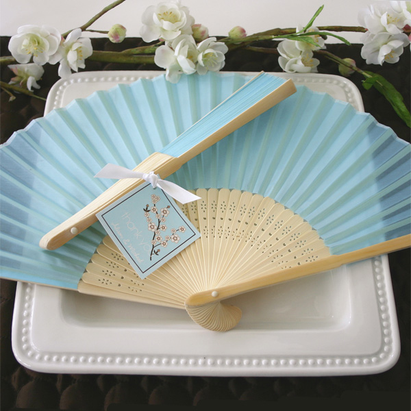 Light Blue Silk Hand Fans Beach Theme Wedding Favors