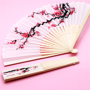 Cherry Blossom Silk Hand Fans Palm And Bamboo Hand Fans