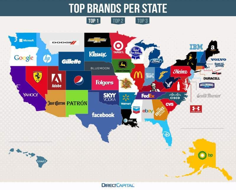 The Three Brands People Google Most in Each State