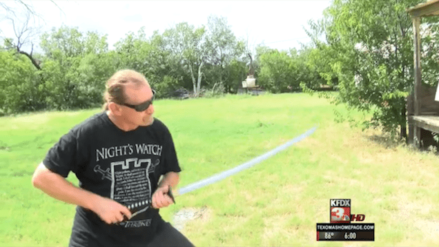 """A """"Game of Thrones"""" Fan Fights Off a Burglar Using a Spear"""