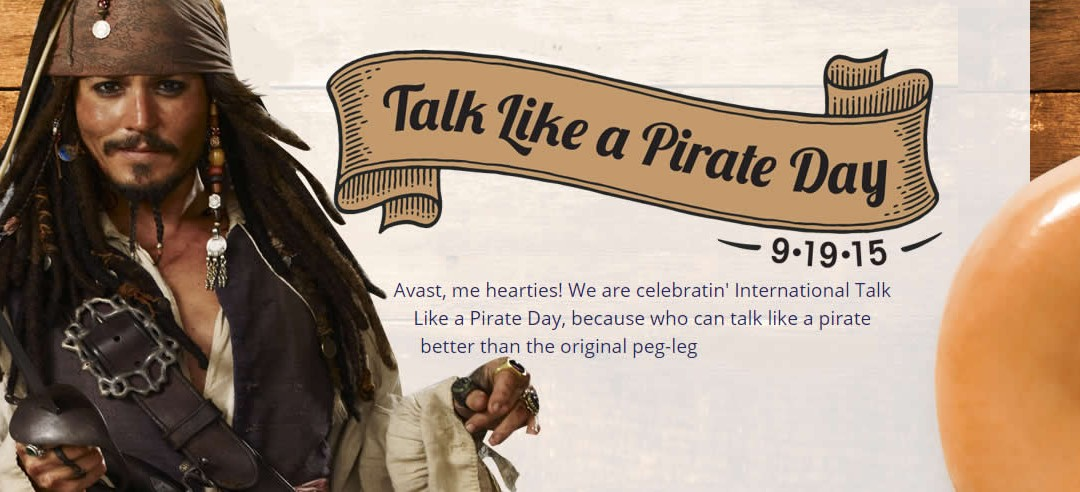"Tomorrow is ""Talk Like a Pirate Day"", Get free Food from…"