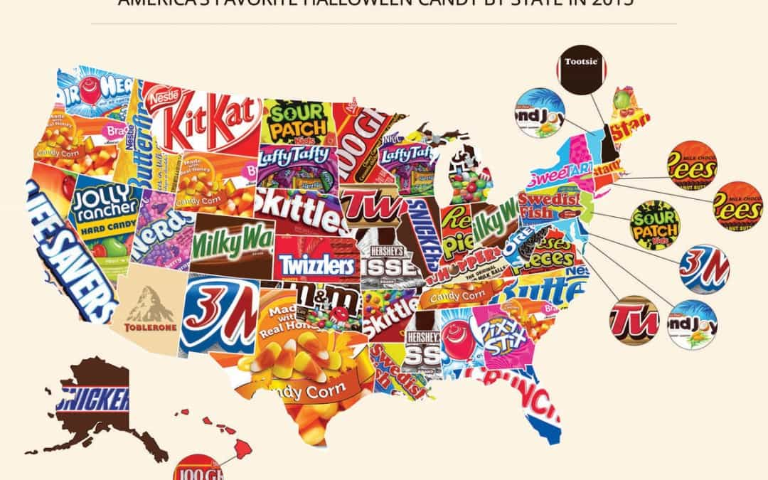 This Map shows Popular Halloween Candy by State