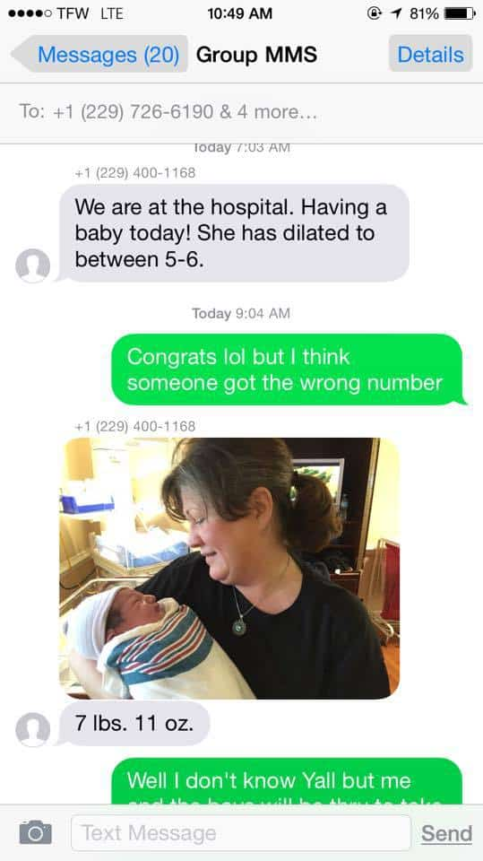 A Woman Texted a Baby Announcement to the Wrong Number . . . and the Guy Who Got It Showed Up at the Hospital with Presents