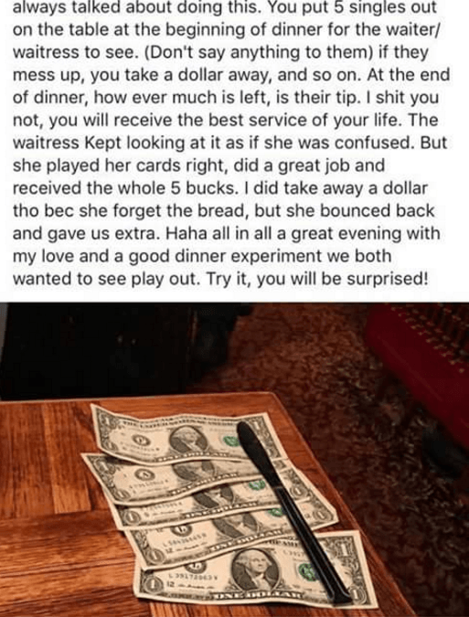 A Couple's Controversial Tipping Style Is Spreading on Facebook