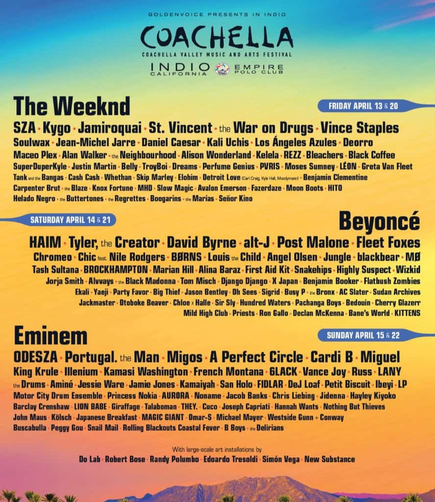 The Weeknd, Beyoncé, and Eminem Are Headlining Coachella