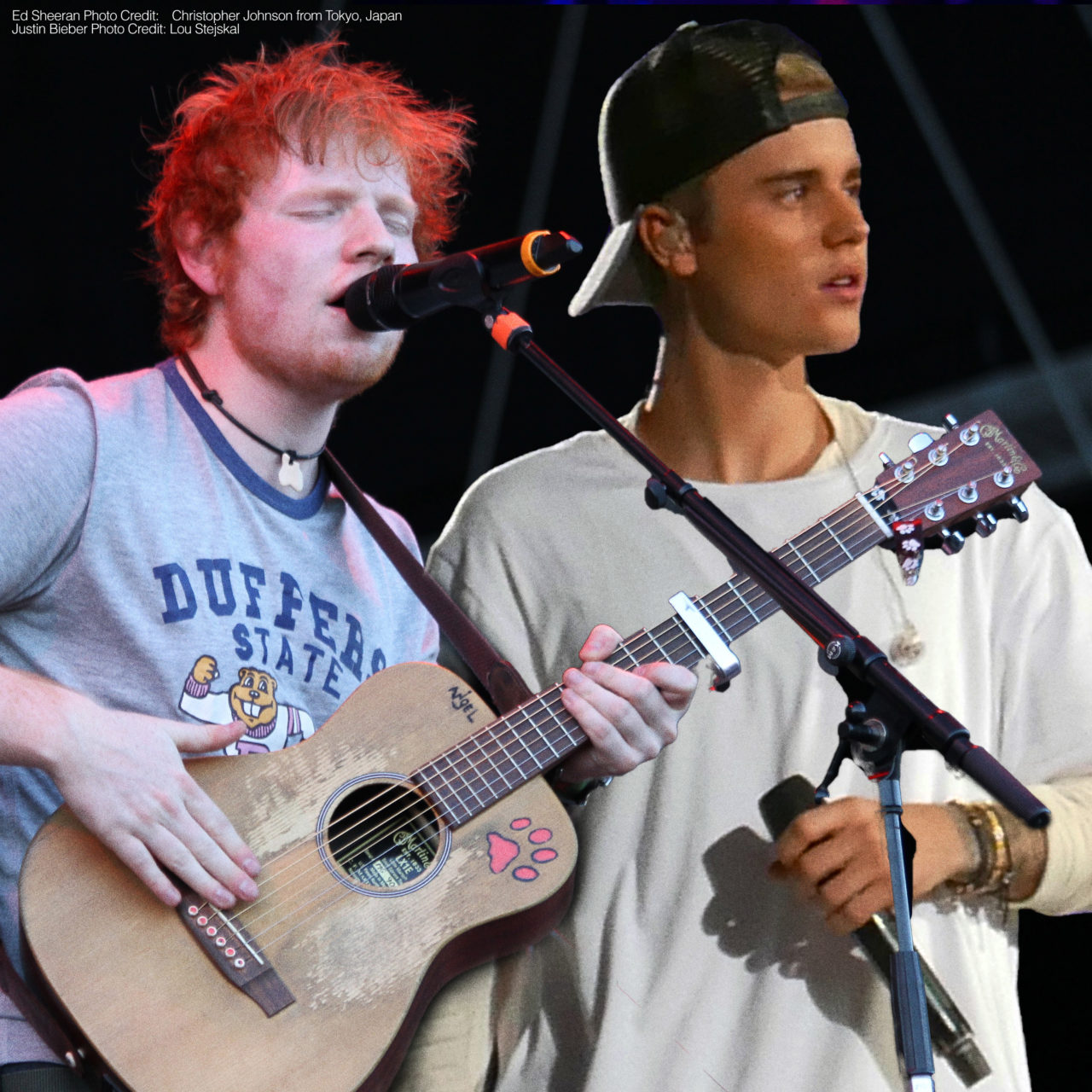 """ED SHEERAN and JUSTIN BIEBER revealed some details about their new collaboration.  It's a song called """"I Don't Care"""", and it comes out Friday morning."""