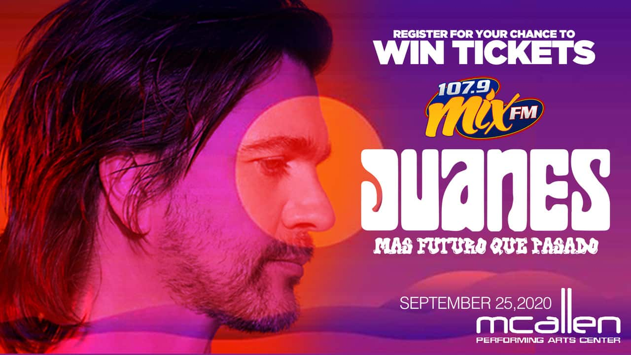 Register for your chance to a pair of Tickets to see the Juanes Mas Futuro Que Pasado concert on September 25th at the McAllen Performing Arts Center!