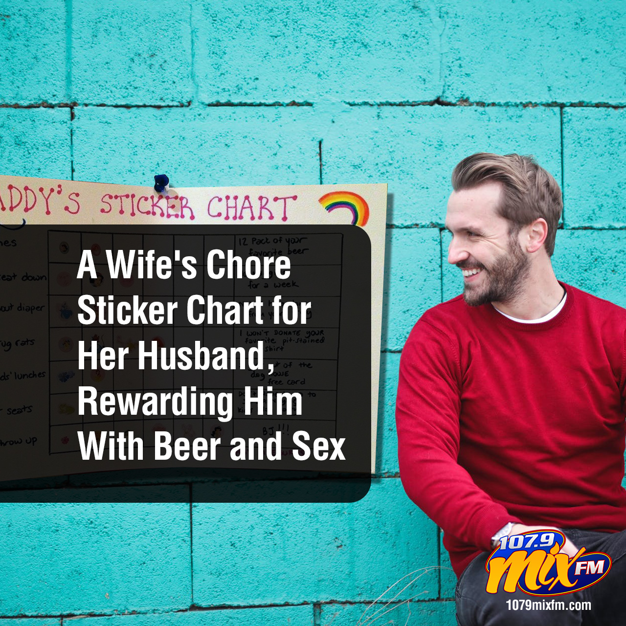 A Wife's Chore Sticker Chart for Her Husband, Rewarding Him With Beer & Sex