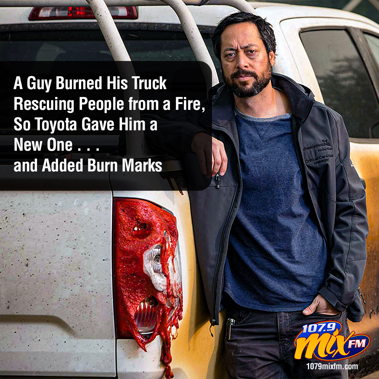 A Guy Burned His Truck Rescuing People from a Fire, So Toyota Gave Him a New One . . . and Added Burn Marks