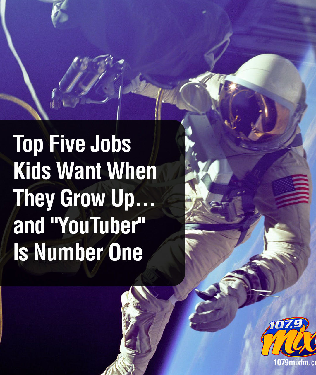 """Top Five Jobs Kids Want When They Grow Up… """"YouTuber"""" Is Number One"""
