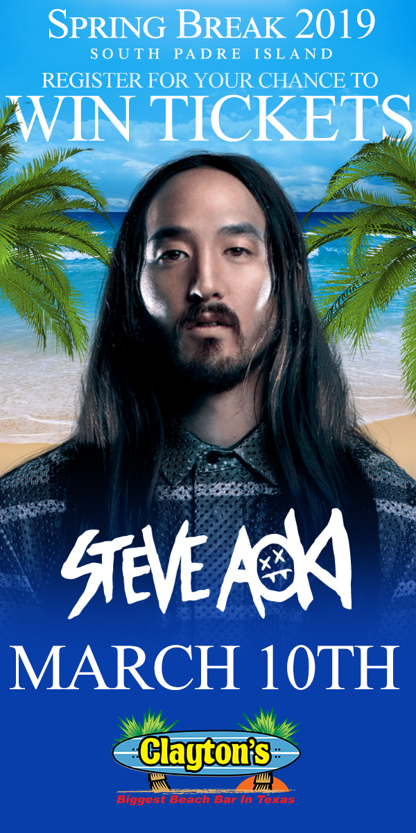 Register to Win tickets to see Steve Aoki at Claytons SPI