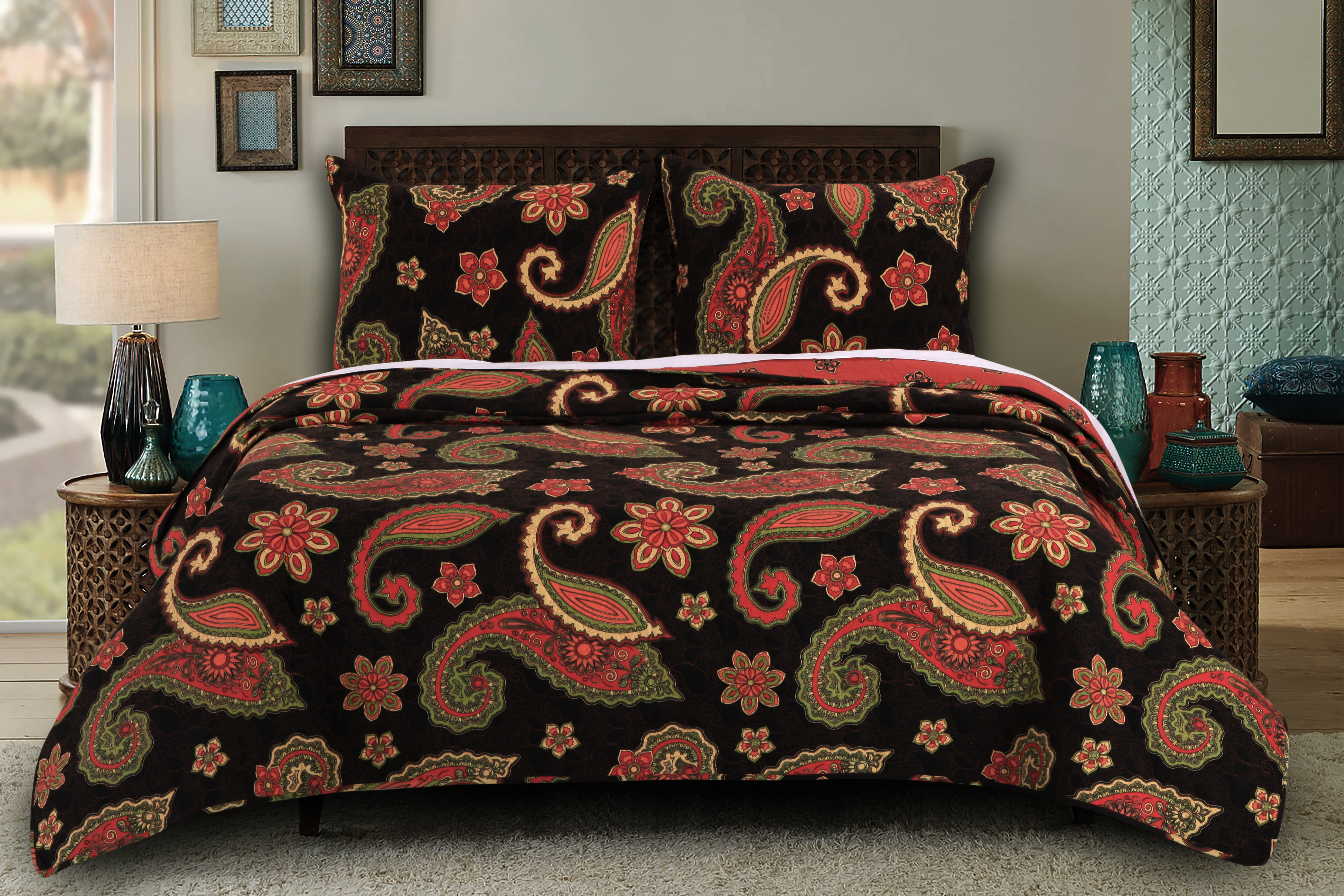 Midnight Paisley Multi Colored King Size Quilt Set 3