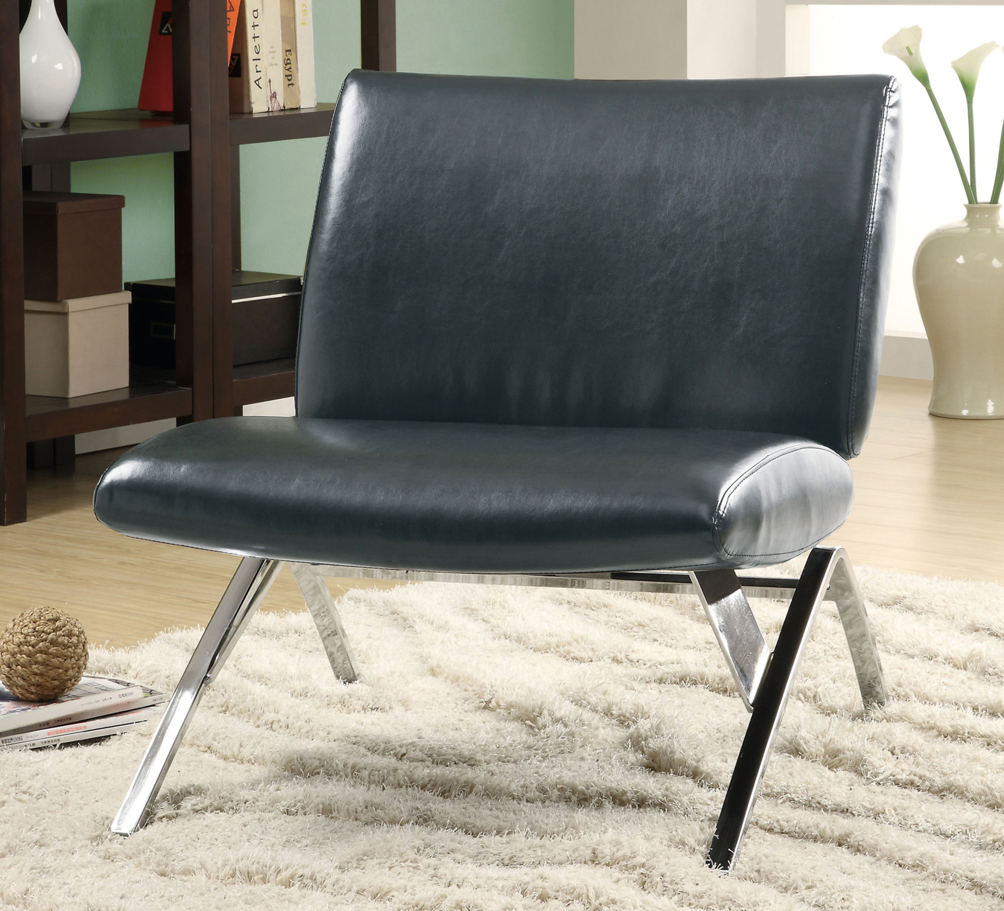 Monarch Specialities Accent Chair Black Leather Look