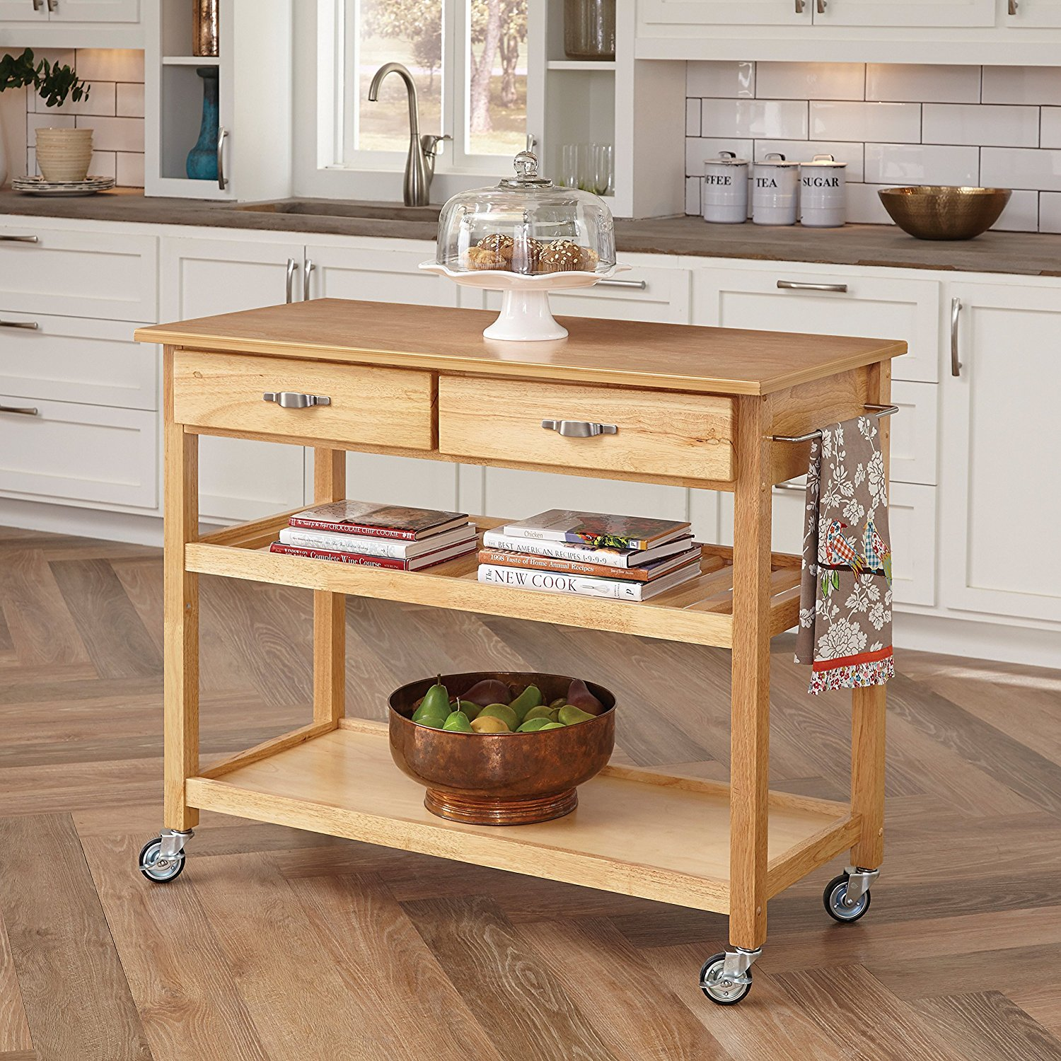 Details About Home Styles Solid Wood Top Kitchen Cart In Natural Finish 5216 95 New