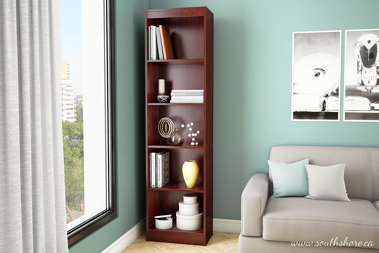 Details About South Shore Axess Collection 5 Shelf Narrow Bookcase In Royal Cherry 7246758
