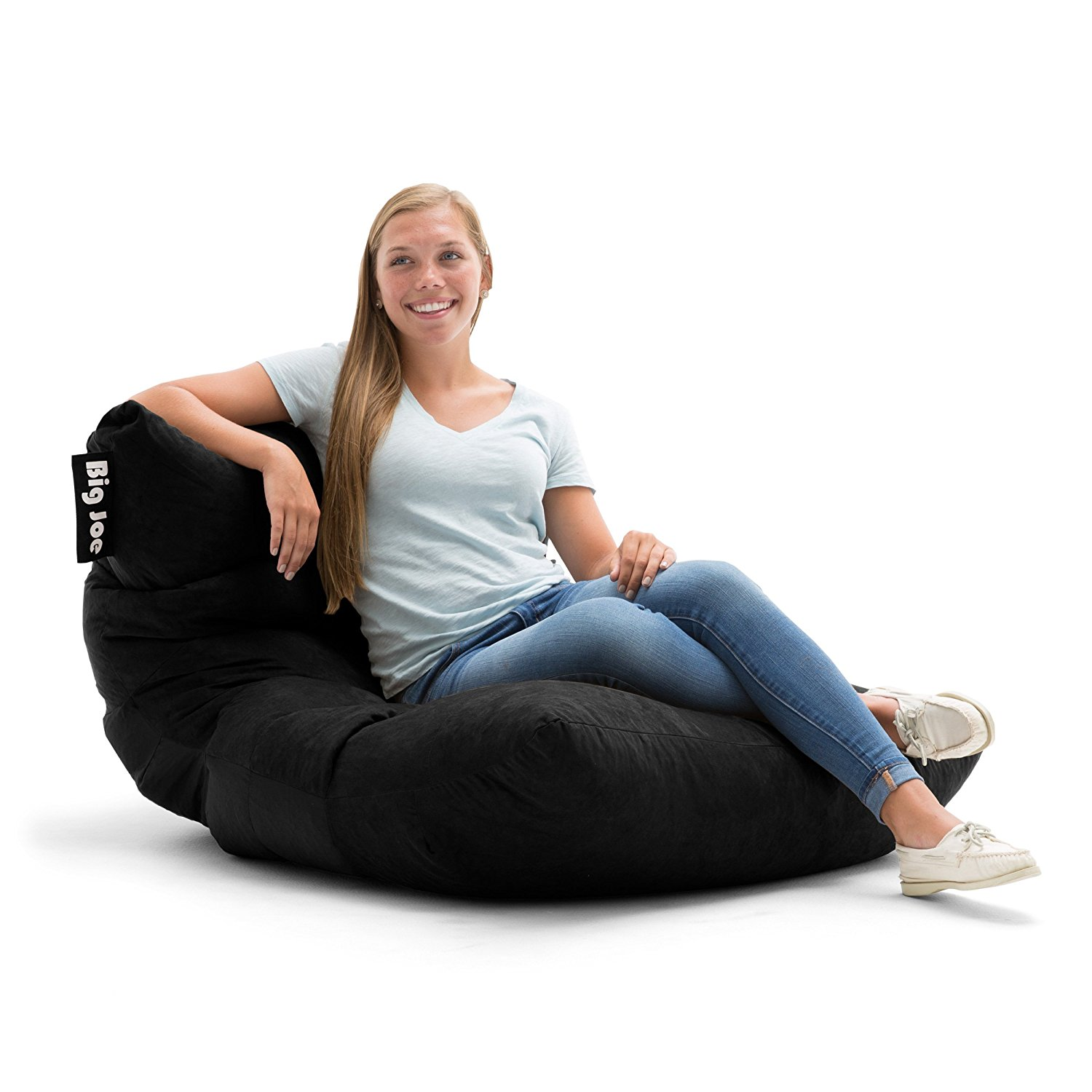 Awe Inspiring Details About Big Joe Roma In Absolute Comfort Suede Plus Bean Bag Chair In Black Finish Beatyapartments Chair Design Images Beatyapartmentscom