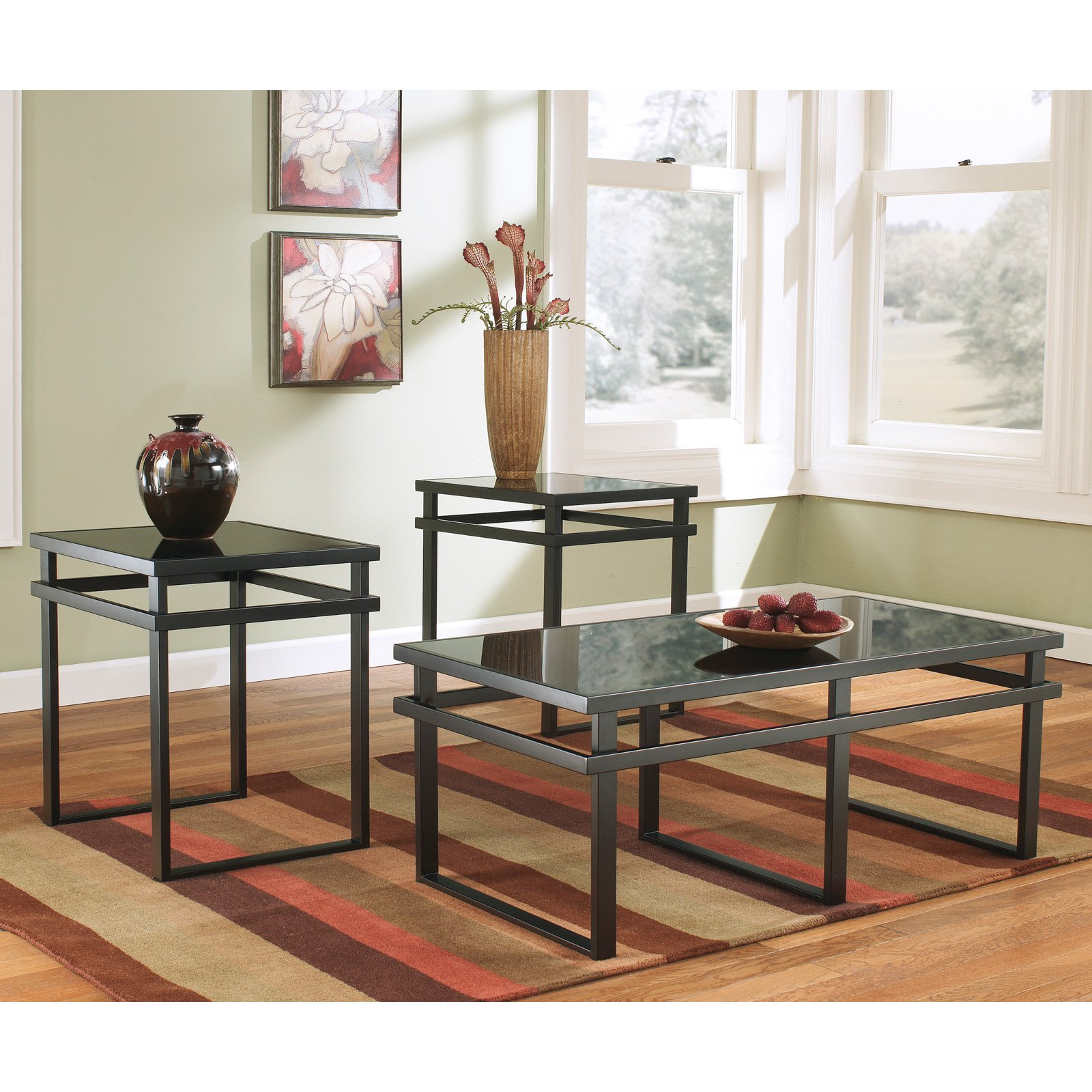 Ashley Mallacar Piece Coffee Table Set In Black T: Ashley T180-13 Laney Signature Design Occasional Table