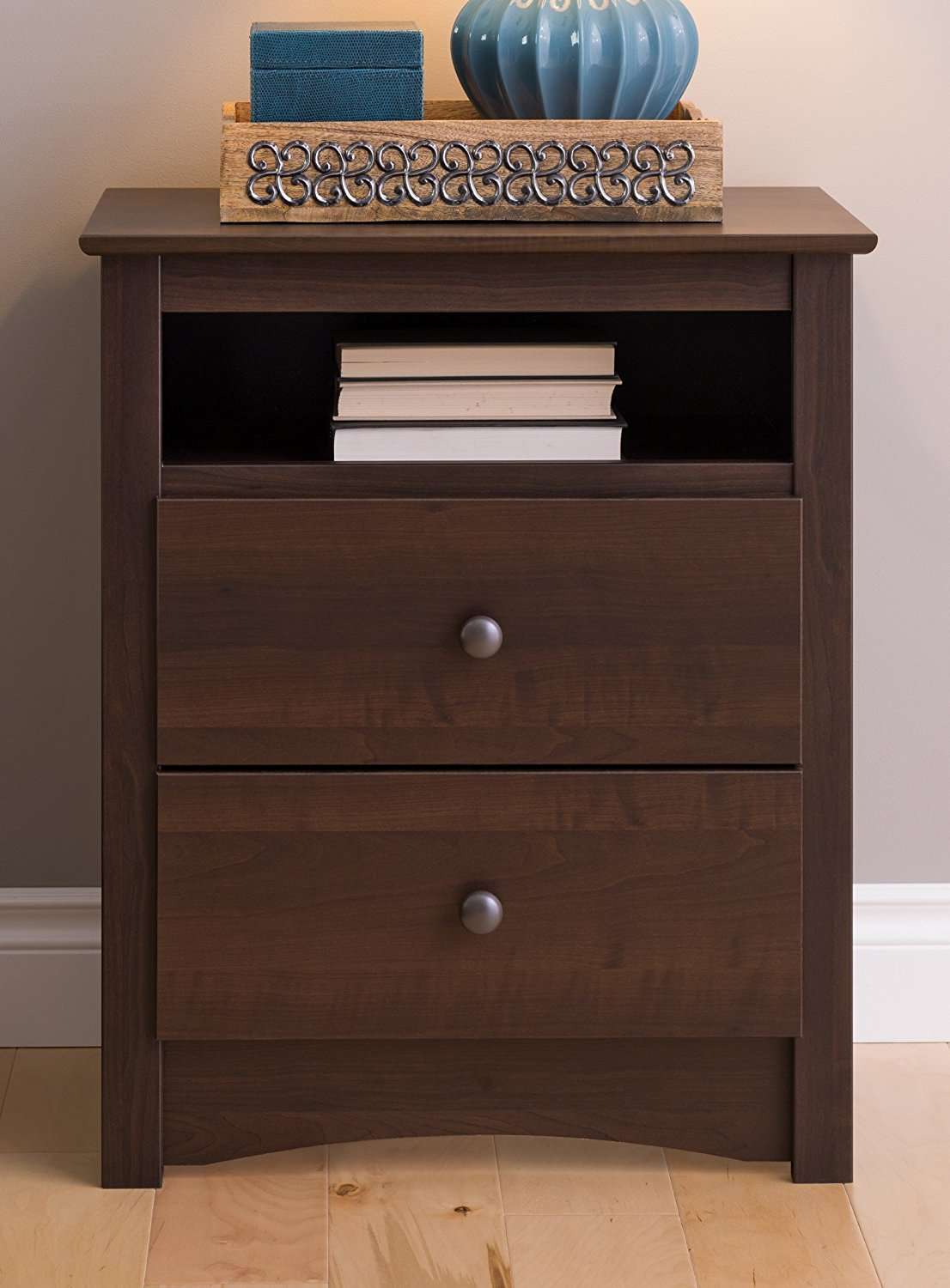 Prepac Fremont 2 Drawer Nightstand With Open Shelf In