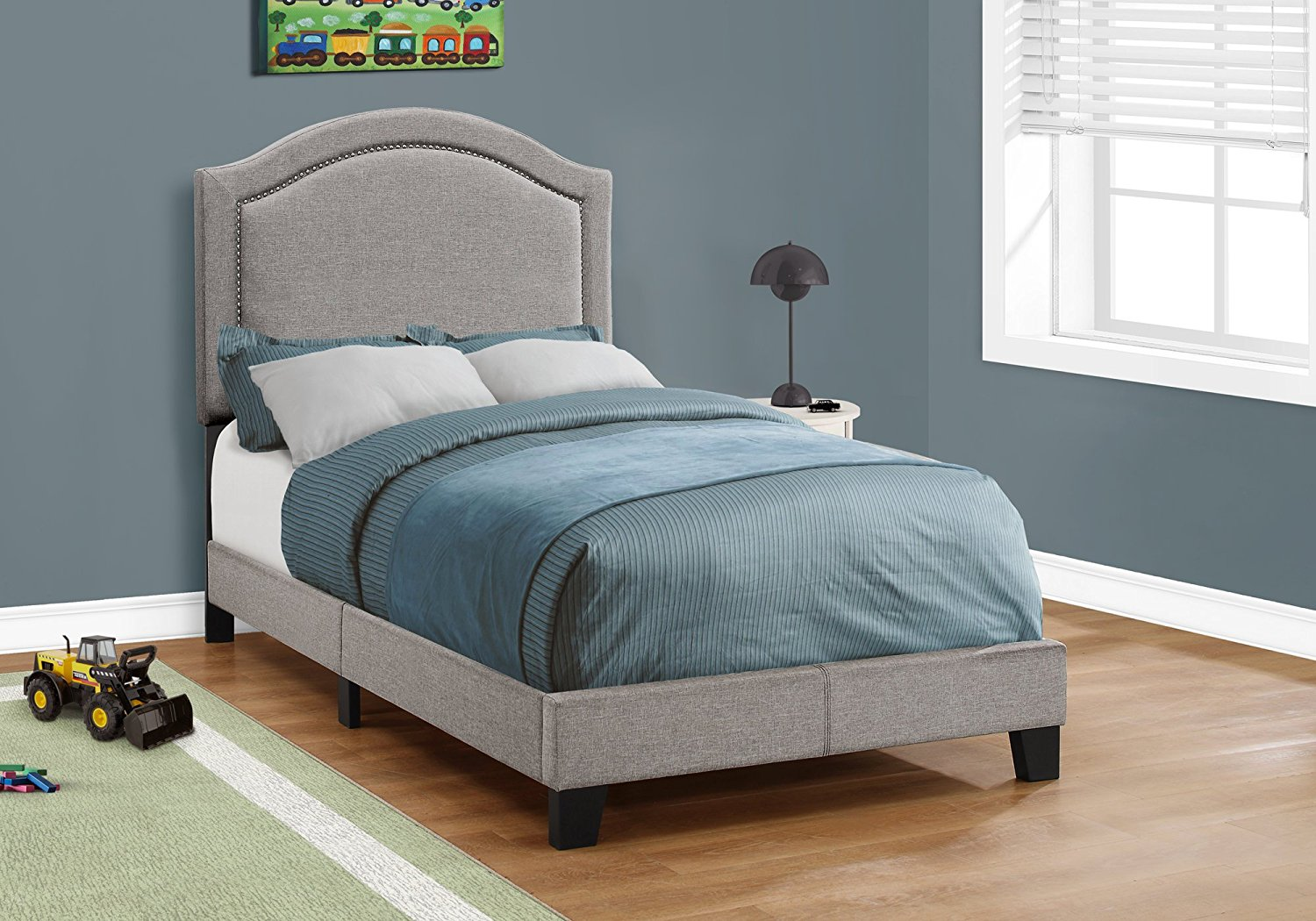 Monarch Specialties I5936t Twin Size Bed In Grey Linen With Chrome