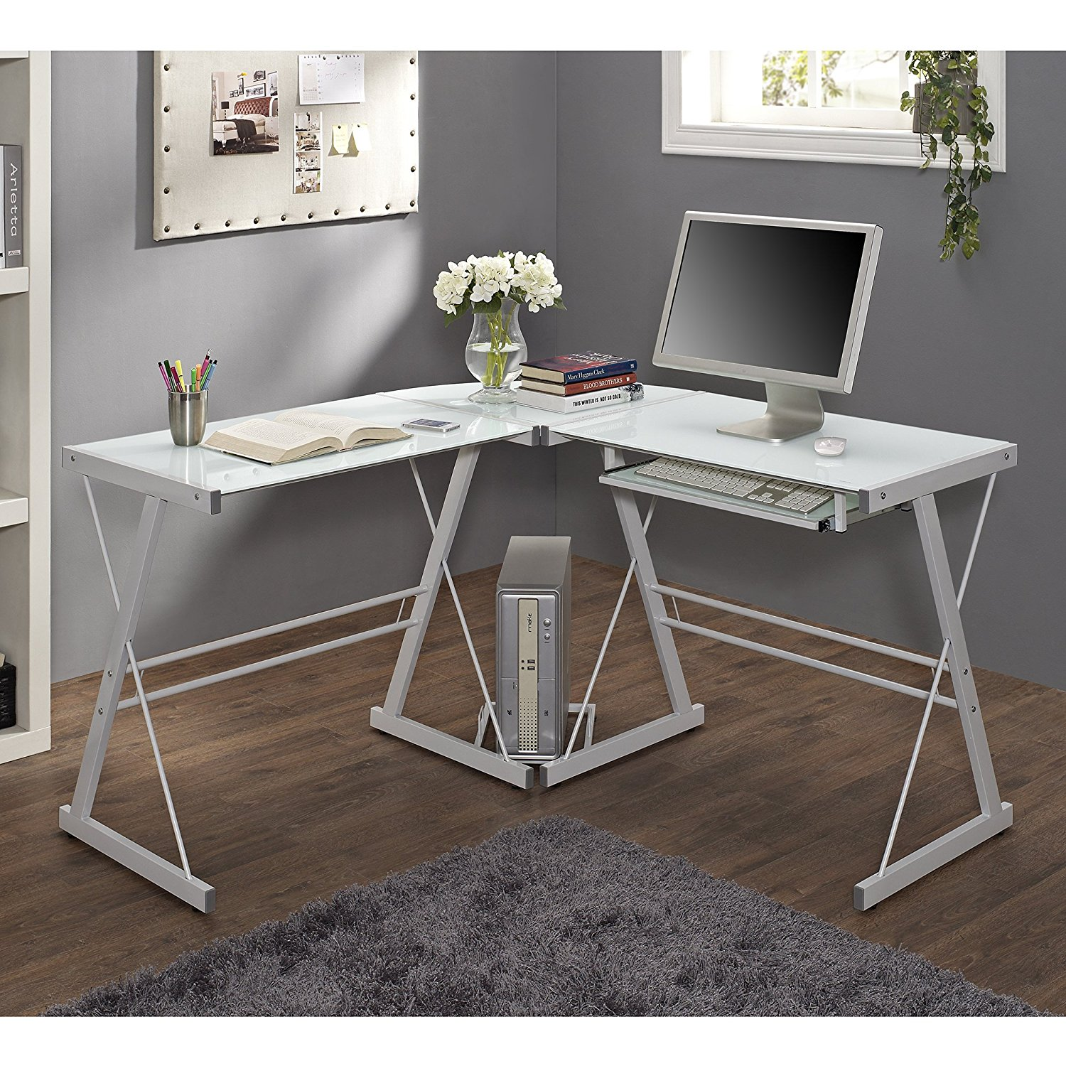 Details about Walker Edison Glass Top with Steel Base Corner Computer Desk  in White, D43W43