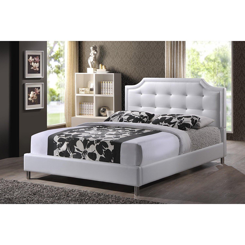 Baxton Studio Carlotta Modern King Size Bed With Upholstered Headboard In White 847321030084 Ebay
