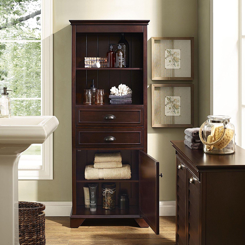 Crosley Furniture Lydia 60-inch Tall Bathroom Cabinet in ...