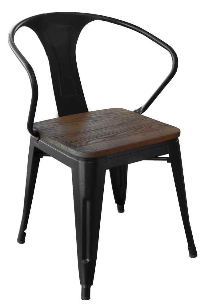 Amerihome Dchairbwt Loft Black Metal Dining Chair With Wood Seat