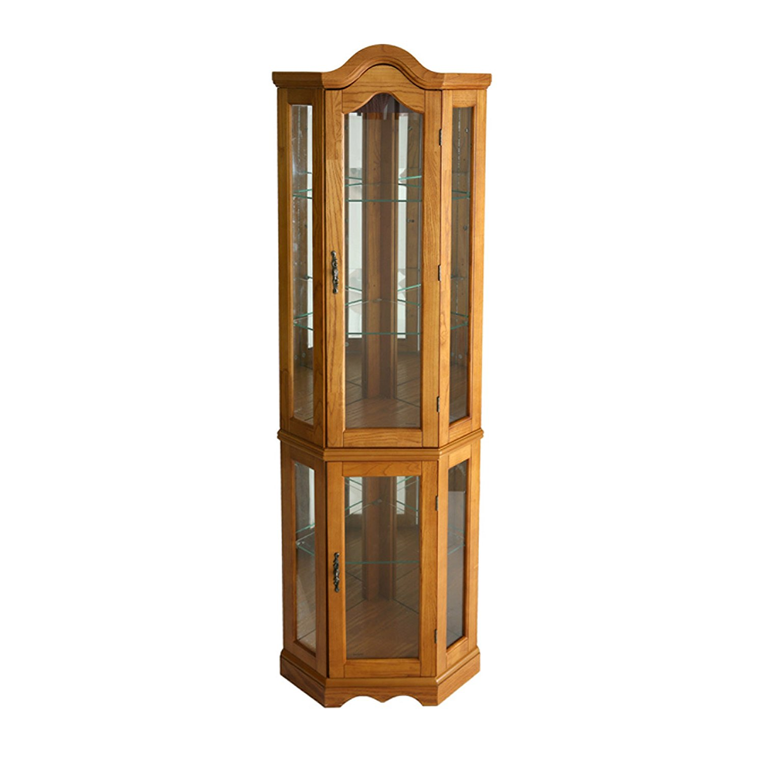 Southern Enterprises Lighted Corner Curio Cabinet In