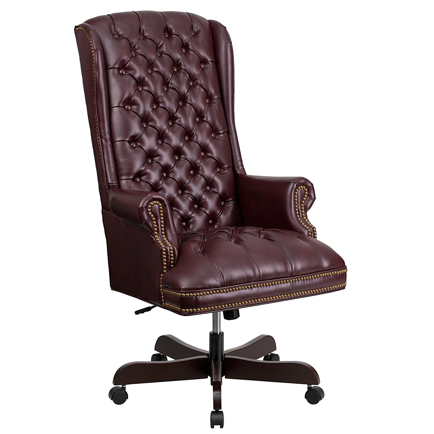Sensational Details About Flash Furniture High Back Tufted Leather Executive Chair In Burgundy Finish New Machost Co Dining Chair Design Ideas Machostcouk