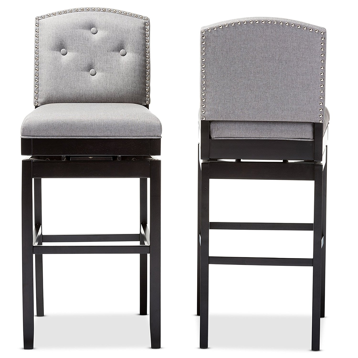 Surprising Details About Baxton Studio Ginaro Set Of 2 Button Tufted Upholstered Swivel Bar Stool In Grey Unemploymentrelief Wooden Chair Designs For Living Room Unemploymentrelieforg